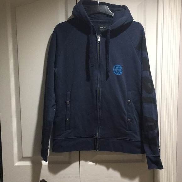 REPLAY men's Navy Blue Cotton Hoodie Jacket Size L